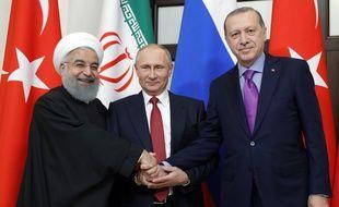 Les présidents Rohani, Poutine et Erdogan