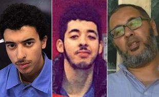 Le suspect de l'attentat de Manchester Salman Abedi (centre), entouré de son frère cadet, Hachem, et de son père, Ramadan, tous les deux arrêtés en Libye.