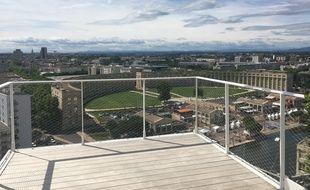 L'un des balcons de l'Arbre blanc à Montpellier