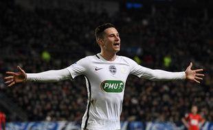 Draxler fête son but lors de Rennes-PSG le 1er février 2017.