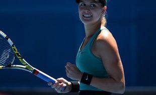 La Canadienne Eugénie Bouchard après sa victoire contre Ana Ivanovic à l'Open d'Australie, le 21 janvier 2014, à Melbourne.