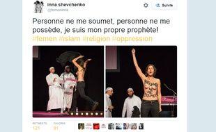 Capture écran du compte Twitter d'Inna Shevchenko @femeninna  le 13 septembre 2015.