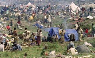 Environ 160.000 réfugiés rwandais, le 17 juillet 1994, dans un camp près de Goma au Congo