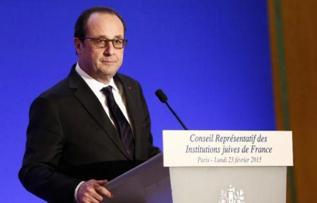 Francois Hollande au dîner du Crif à Paris le 23 février 2015