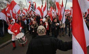 Une manifestation contre la fusion avec la Lorraine et Champagne-Ardenne dans les rues de Strasbourg et près des institutions européennes en 2014.