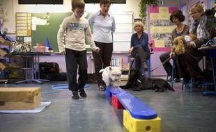 """""""Debout Pivoine ! Pousse la quille !"""", ordonne Lydia, 9 ans. Le westie renverse la quille du bout de son museau sous les applaudissements : à l'école élémentaire Boulard à Paris, les enfants souffrant de troubles de l'apprentissage reprennent goût à la classe grâce aux chiens."""