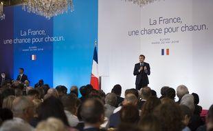 Emmanuel Macron à l'Elysée, le 22 mai 2018.