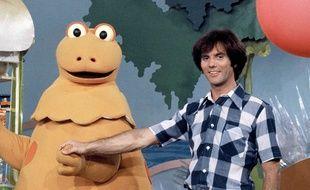Casimir (Yves Brunier) et François (Patrick Bricard) sur le plateau de l'émission «L'Ile aux enfants» sur TF1 en 1975.
