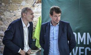 David Cormand et Yannick Jadot, deux cadres d'EELV, le 17 mai 2019 à Paris.