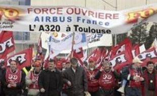 Manifestation des salariés d'Airbus le 3 Avril 2007 à Blagnac.