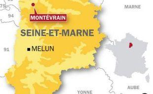 Carte de situation pour le policier blessé à Montevrain.