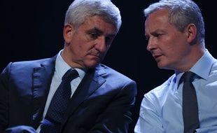 Hervé Morin (g) et Bruno Le Maire à un meeting LR à Caen le 7 décembre 2015