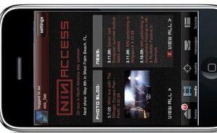 L'application Nine Inch Nails Access, sur l'iPhone