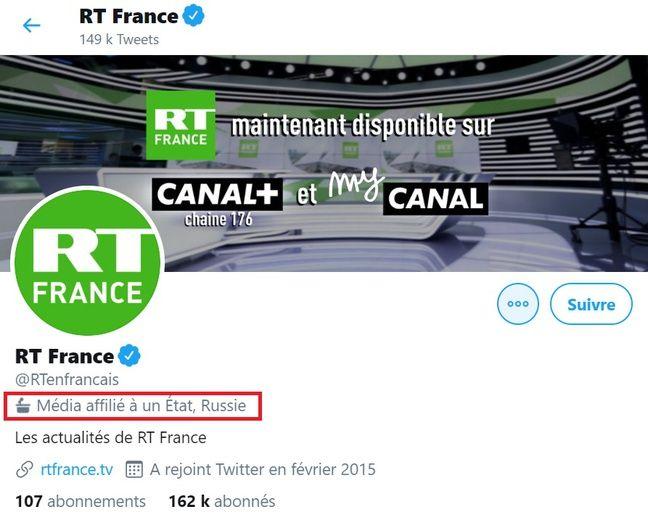 Le compte de RT France est signalé comme affilié à la Russie.
