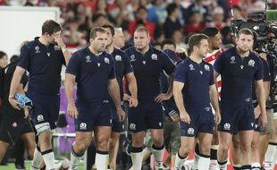 L'équipe d'Ecosse après sa défaite face au Japon lors de la Coupe du monde de rugby, le 13 octobre 2019.