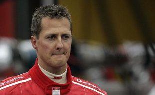 Le pilote allemand MichaelSchumacher (Ferrari), en septembre 2005 à Spa lors du Grand Prix de Belgique.