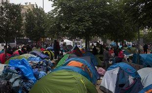 Vue du campement de migrants des jardins d'Eole, évacué il y a deux semaines, au début du mois de juin 2016.