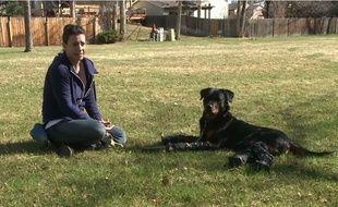Capture d'écran d'une vidéo YouTube montrant Brutus, un rottweiler amputé des quatre pattes qui marche grâce à des prothèses, et sa maîtresse, Laura Aquilina.