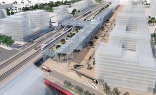 La future gare TER-TGV de Nice aéroport, au dessus d'une halte routière