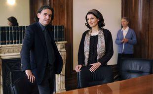 Me Stéphane Goldenstein, aux côtés de Christine et Geneviève Dupont de Ligonnès.