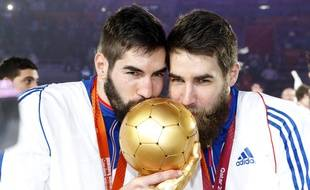 Karabatic brothers Nikola (l) and Luka (r). French players celebrate with the trophy during the podium ceremony of 24th Men's Handball World Championships at the Lusail Multipurpose Hall in Doha, Qatar, Sunday, Feb. 1, 2015./SIPA_0752.02/Credit:S.Pillaud/FFHB/SIPA/1502020802