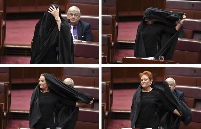 Dans un geste théâtral, l'élue a retiré sa burqa avant de réclamer l'interdiction de ce vêtement religieux en Australie.