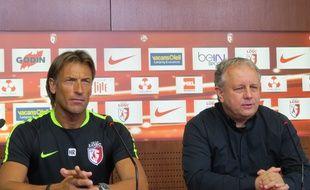 Hervé Renard, l'entraîneur lillois, et Jean-Michel Vandamme, directeur général adjoint du club