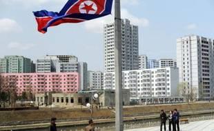 Vue du centre-ville de Pyongyang en avril 2012