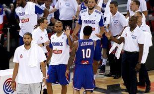 Tony Parker et Edwin Jackson sous le maillot de l'équipe de France.