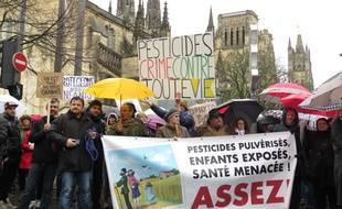 A Bordeaux le 14 février 2016, marche blanche organisée contre les pesticides à l'appel de plusieurs associations et collectifs locaux.