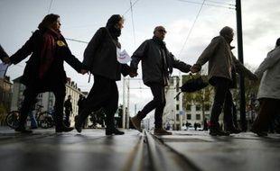 Chaîne humaine pour le climat, le 28 novembre 2015 à Nantes
