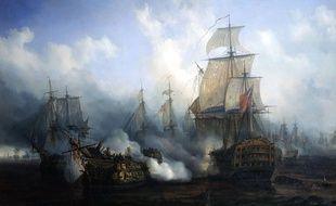 La bataille navale de Trafalgar par Auguste Mayer