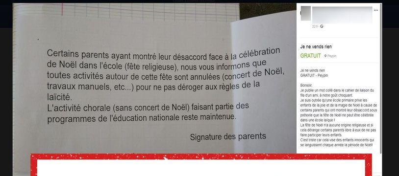 Ce mot a été distribué aux parents d'élèves d'une école primaire des Bouches-du-Rhône.