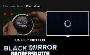 Capture d'écran de la recherche «Black Mirror» sur Netflix le 26 décembre 2018.