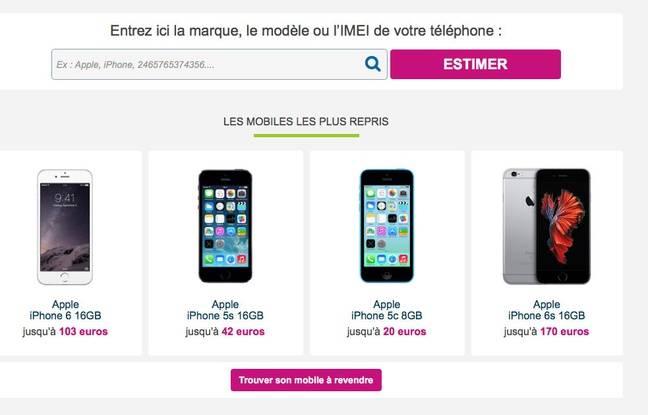 Comme chez Bouygues Telecom, quelques clics suffisent pour obtenir une estimation de son téléphone.