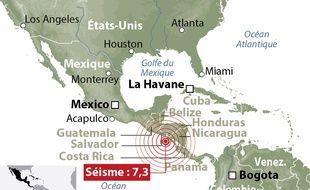 Carte de localisation de l'épicentre du séisme de magnitude 7,3 qui a frappé les côtes du Salvador et du Nicaragua, le 14 octobre 2014.