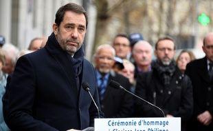 Christophe Castaner lors de l'hommage à Clarissa Jean-Philippe, le 8 janvier 2019 à Montrouge. BERTRAND GUAY / AFP.