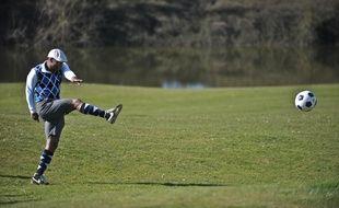 Sylvain Wiltord lors d'un tournoi de foot-golf, à Feucherolles, en 2014.