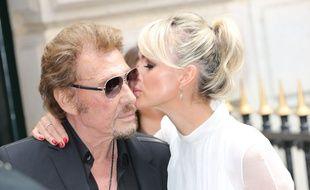 Johnny Hallyday et son épouse Laeticia en juillet 2016.