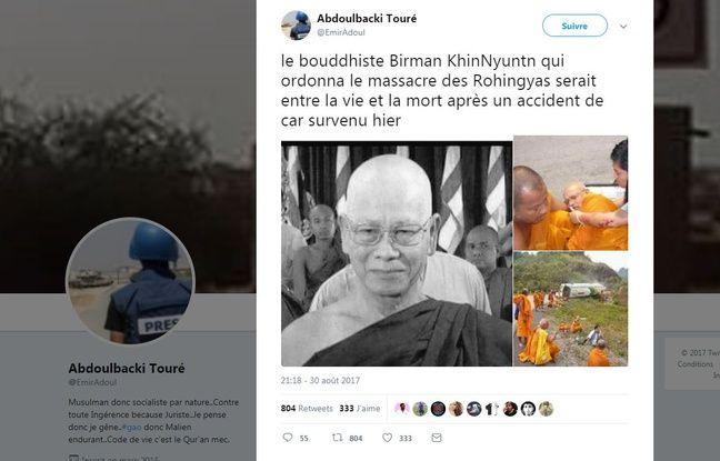 La fausse nouvelle concernant l'ancien premier ministre birman.