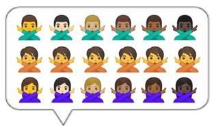 Google a créé des emojis de genre neutre. Ils se trouvent ici sur la ligne du milieu.