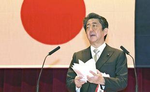 Le Premier ministre japonais Shinzo Abe à Yokosuka, près de Tokyo, le 22 mars 2020.