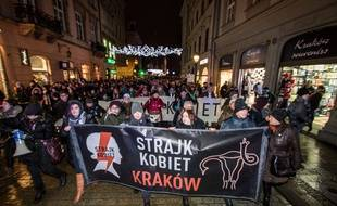 Manifestation en faveur du droit à l'avortement en Pologne, le 17 janvier 2018 à Cracovie