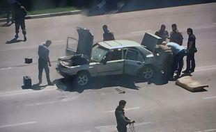 Photo de la tentative d'attentat contre des policiers à Grozny, le 20 août 2018.