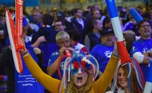 Les supporters français à Nantes lors du match de handball France-Norvège / AFP PHOTO / LOIC VENANCE