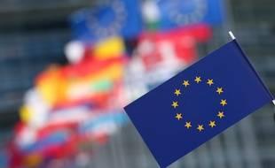 Strasbourg le 14 04 2014. Drapeaux europeens, parlement europenn Strasbourg. Illustrations.
