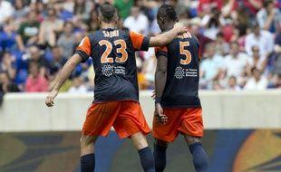 Les Montpelliérais Saihi et Bedimo lors du trophée des champions, le 28 juillet 2012