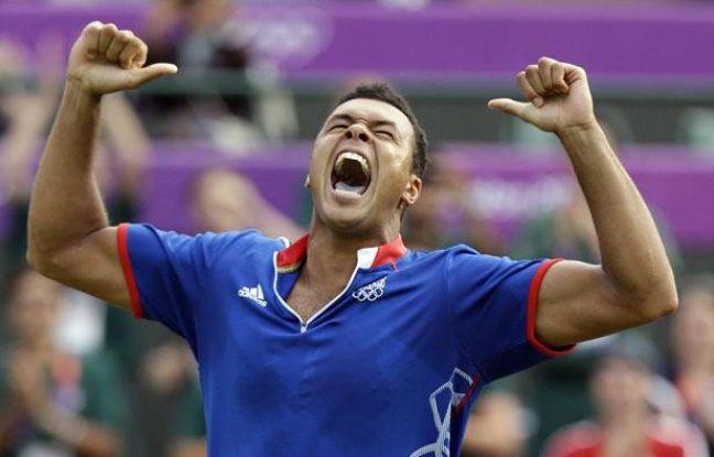 Jo-Wilfried Tsonga remporte le match le plus long de l'histoire des JO face à Milos Raonic, le 31 juillet 2012, à Londres.