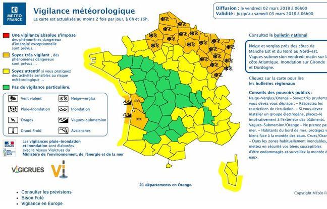 21 départements étaient encore en vigilance orange, principalement pour neige et verglas