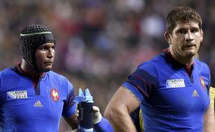 Le joueur de l'équipe de France de rugby, Pascal Papé (droite), face au Canada, le 1er octobre 2015.